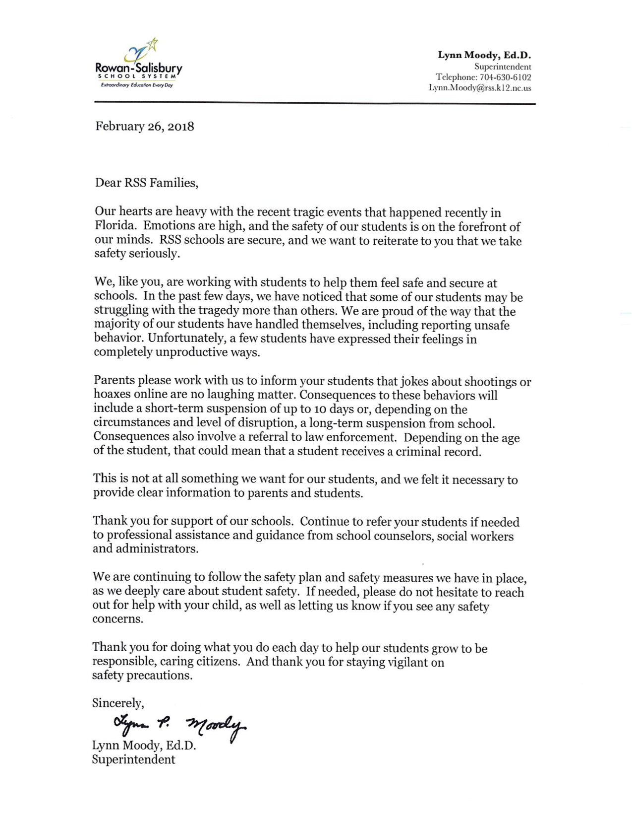 Dr Moody's Letter on School Safety