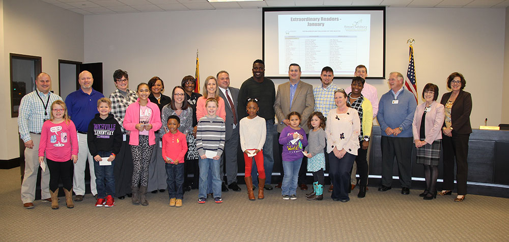 Extraordinary Readers from elementary schools, second group, with board of education