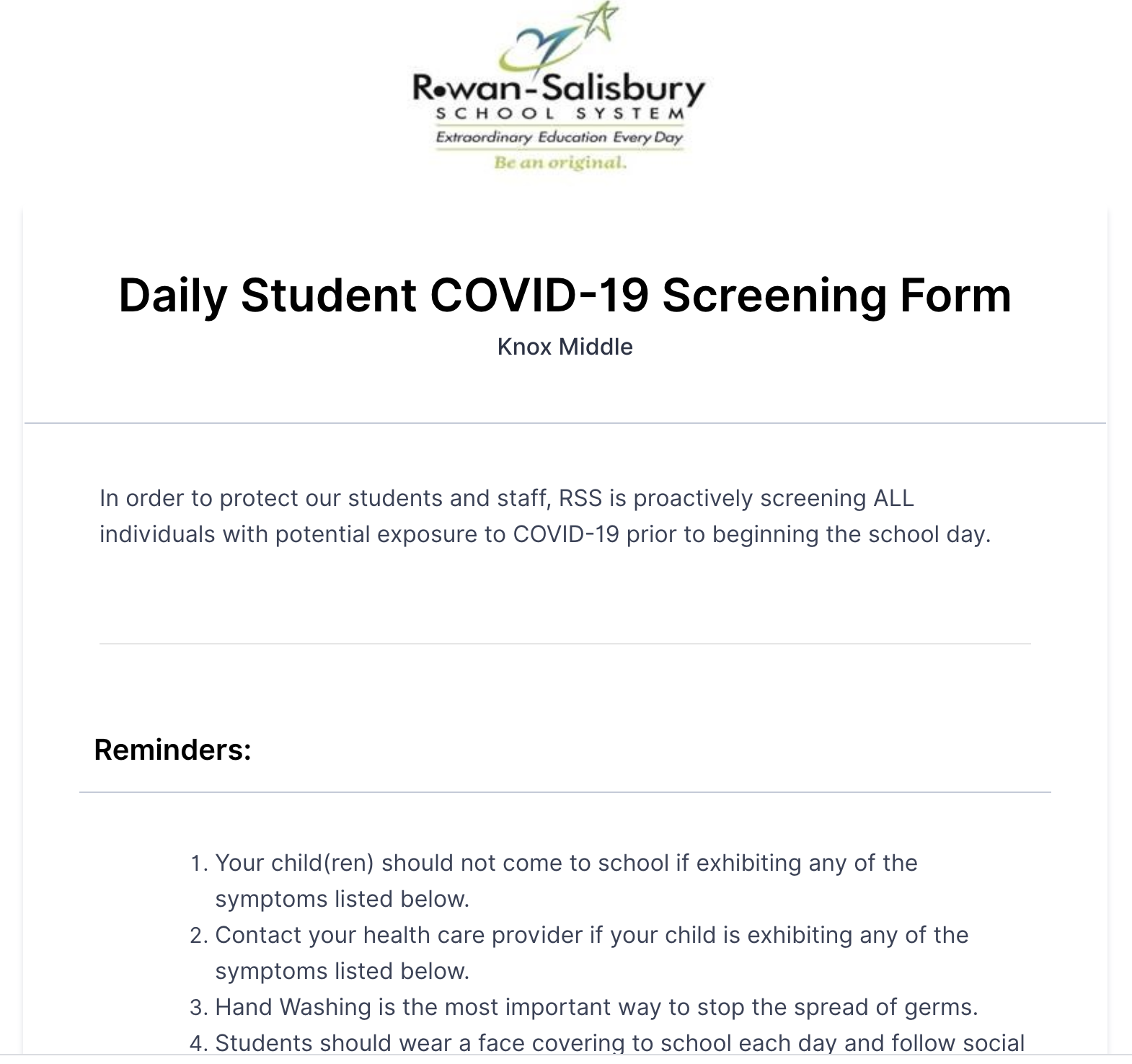 Student Daily Screening Form