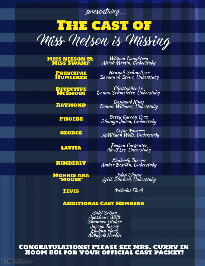 Cast for Miss Nelson is Missing