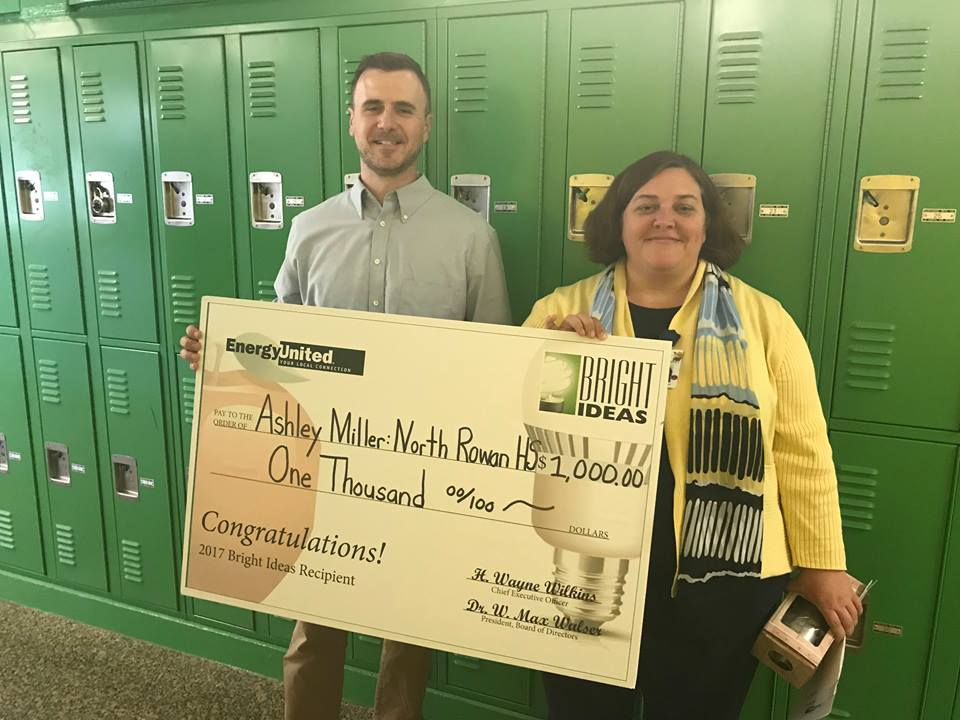 "North Rowan's Ms Miller wins ""Energy United"" Grant!"