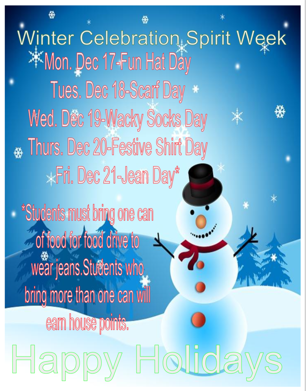 Winter Celebration Spirit Week