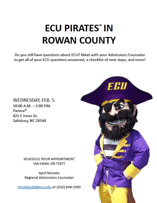 ECU Pirates Info Session in Rowan County on Feb. 5