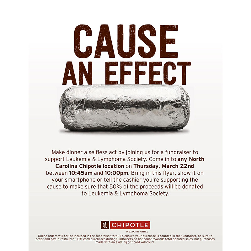 Chipotle Charity Day on Thursday March 22