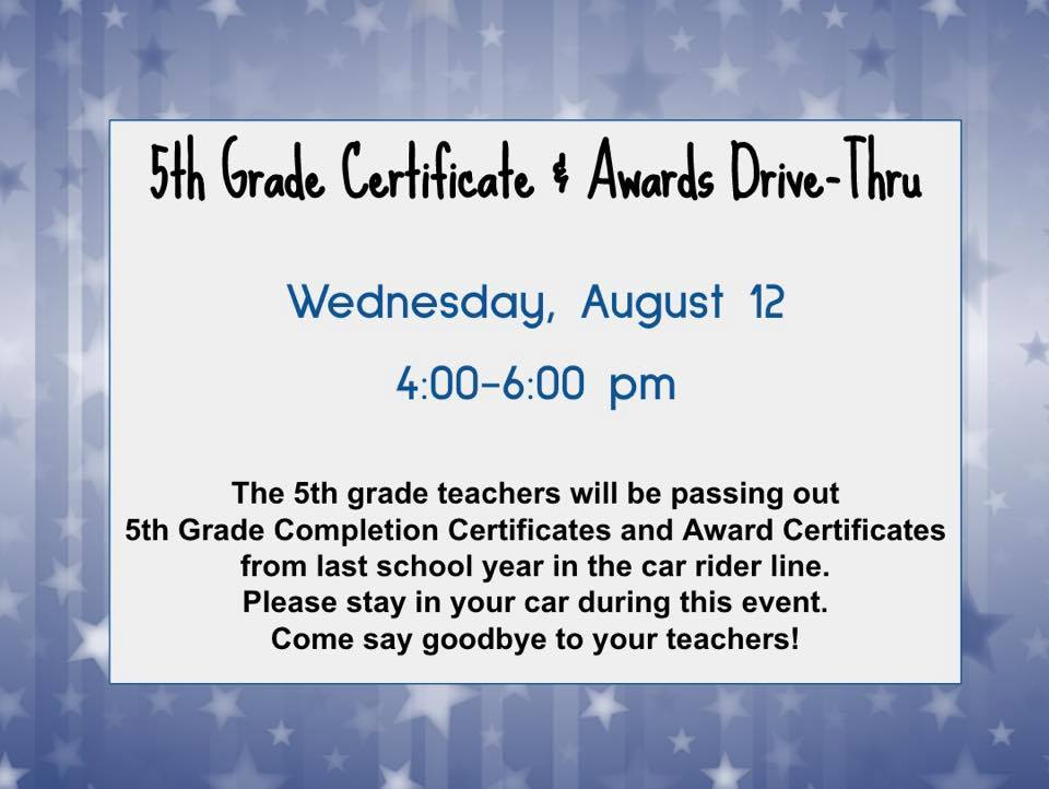 Fifth Grade Certificate and Awards
