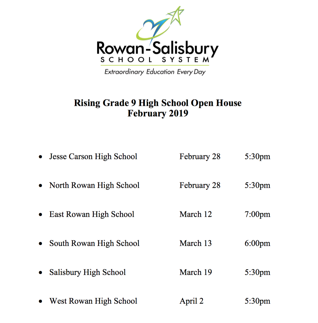 Rising 9th Grade Open House Schedule