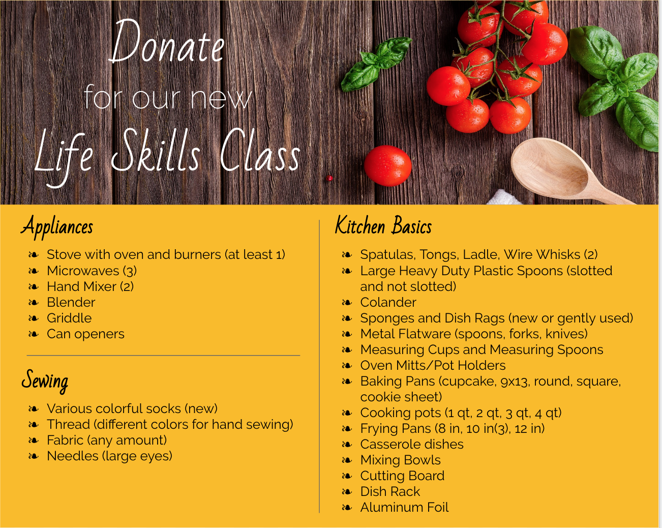 Donate to our Life Skills Class